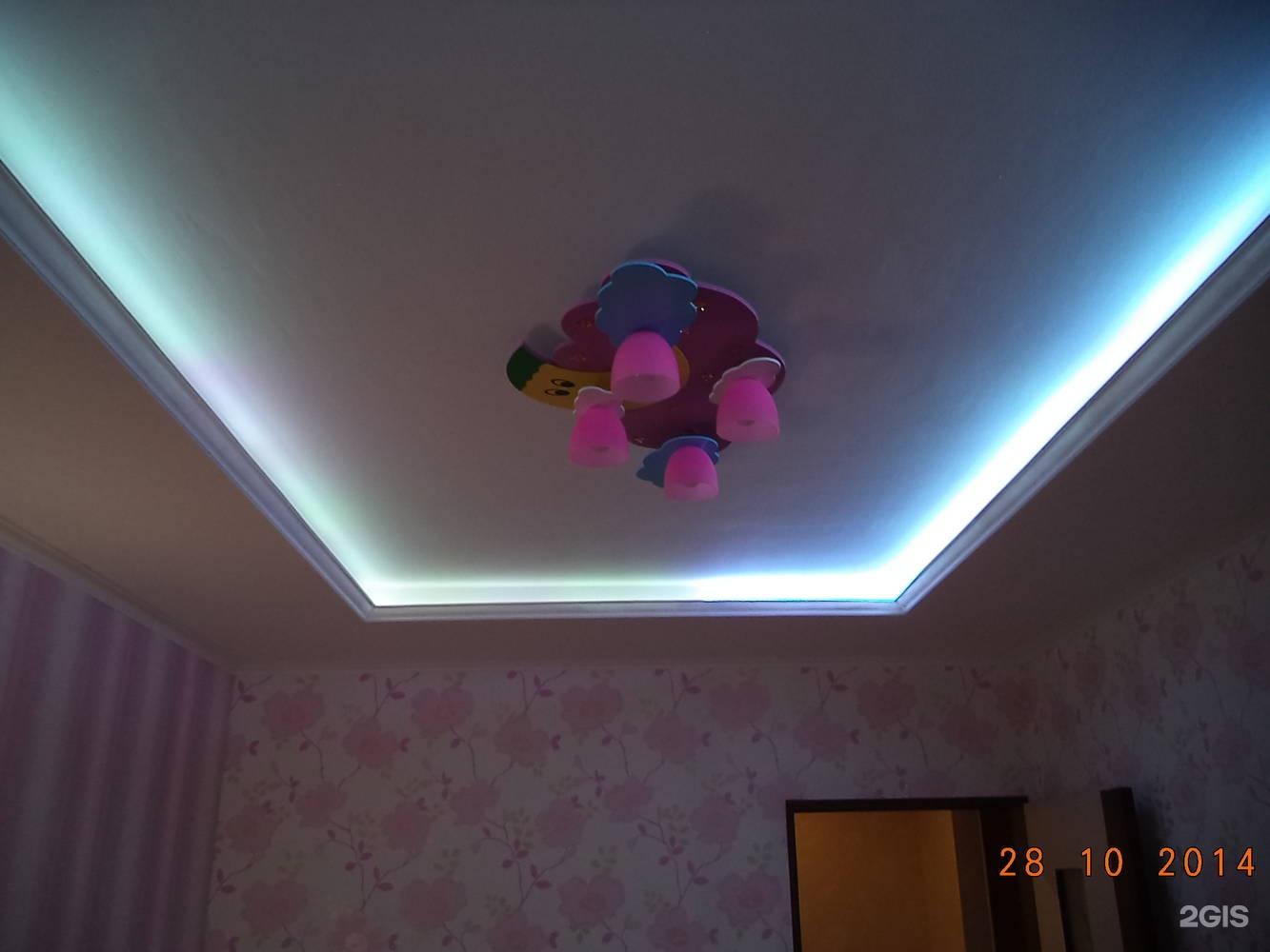 Потолок из гипсокартона с подсветкой своими руками 1