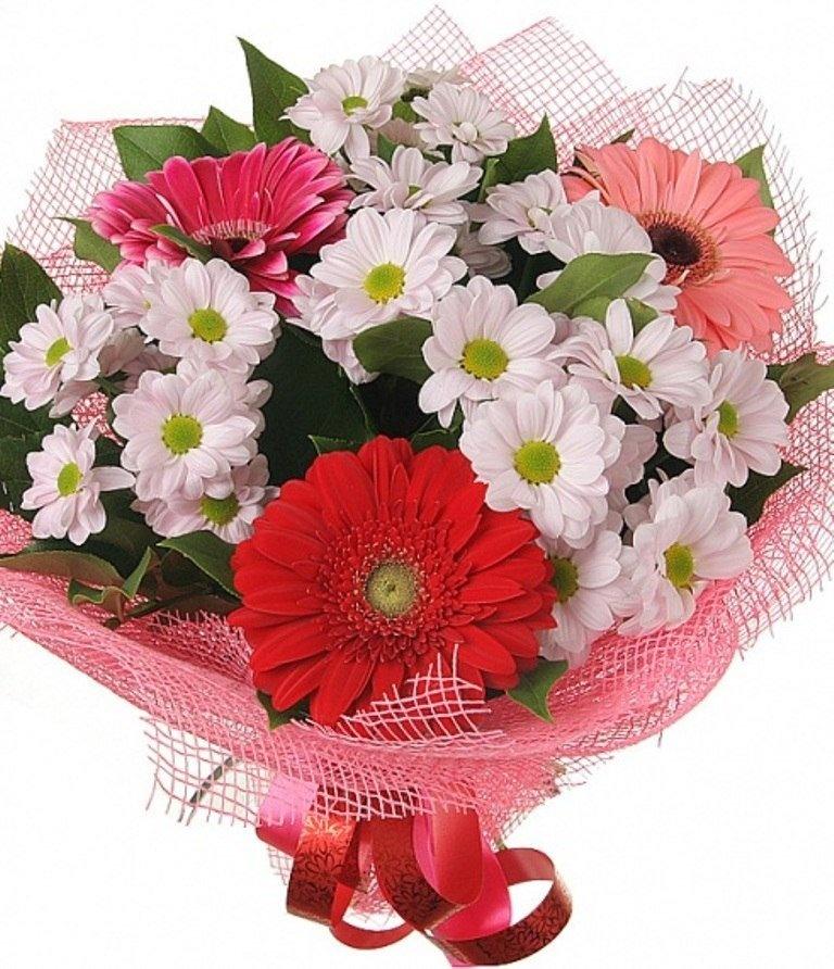 Подарочный букет из гербер и хризантем фото