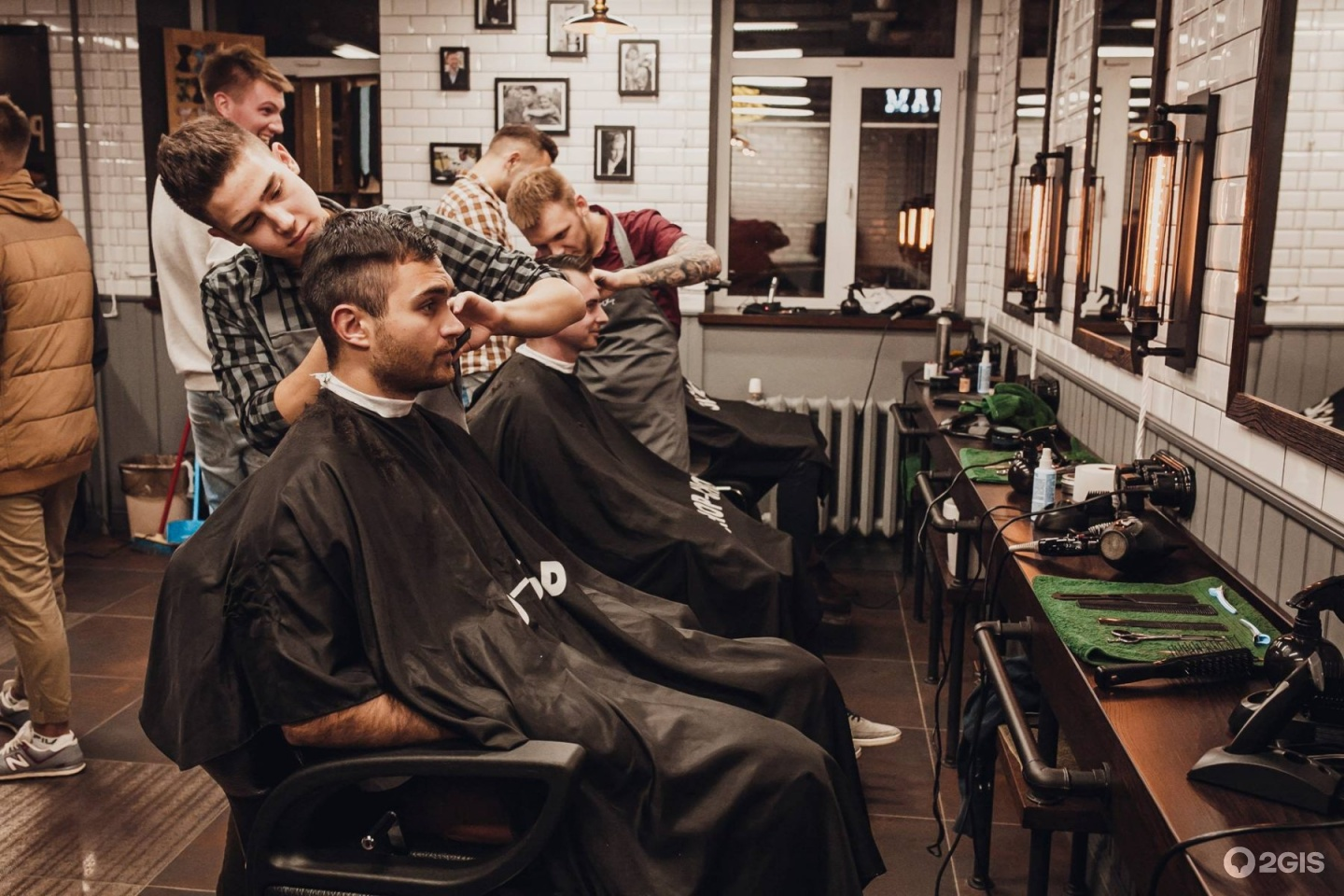 Male barber with a male client